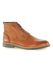 Topman Brown Tan Leather Lace Up Boots