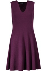 Magaschoni Ribbed Cashmere Mini Dress Grape