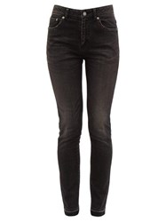 Saint Laurent Distressed Cotton Blend Skinny Jeans Black
