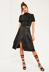 Missguided Black Full Pleated Wrap Heavyweight Midi Skirt