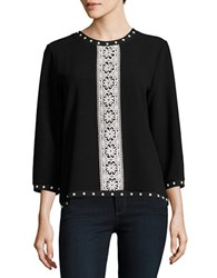 Karl Lagerfeld Studded Embroidered Knit Top Black White