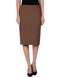 Angelo Marani Knee Length Skirts Light Brown
