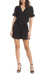 Fraiche By J Lace Inset Romper Black