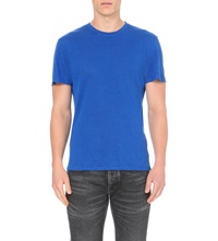 Sandro Crew Neck Linen Jersey T Shirt Royal Blue