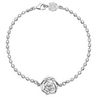 Dower And Hall Wild Rose Flower Charm Chain Bracelet Silver