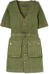House Of Holland Belted Denim Mini Dress Army Green