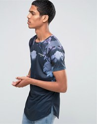 Illusive London Longline T Shirt With Neon Foliage Print Navy