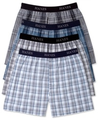 Hanes Platinum Men's Underwear Elastic Waistband Plaid Woven Boxer 4 Pack Grey Plaid Assorted