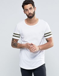 Only And Sons Longline T Shirt With Arm Stripes Curved Hem White Khaki