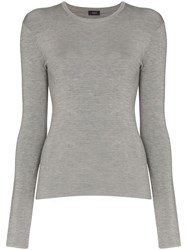 Joseph Stretch Knit Long Sleeve Top Grey