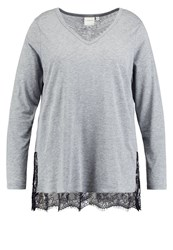 Junarose Jrmelli Long Sleeved Top Medium Grey Melange Mottled Grey