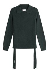 Frame Denim Cashmere Pullover With Lace Up Ties At The Sides Green