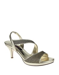 Nina Newark Metallic Woven Open Toe Sandals Gold