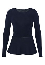 Hallhuber Peplum Jumper With Decorative Seams Blue