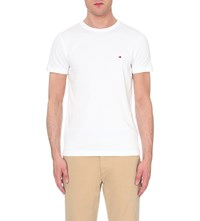 Tommy Hilfiger Logo Embroidered Stretch Cotton T Shirt Classic White