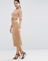 Asos Cord Tube Midi Skirt In Nude Co Ord Nude Brown