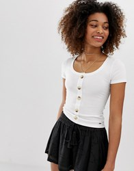 Hollister Henley T Shirt With Button Front White