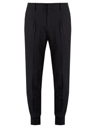 Wooyoungmi Tapered Leg Wool Blend Trousers Navy