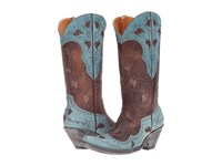 Old Gringo Hearth Leaves Brass Blue Cowboy Boots