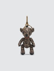 Burberry Thomas Bear Charm In Monogram Print Leather Brown