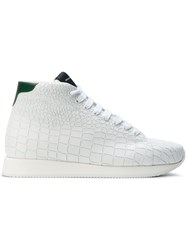 Kris Van Assche Crocodile Effect Hi Top Sneakers Calf Leather Leather Rubber White