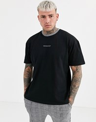 Good For Nothing T Shirt In Black With Tartan Neck Detail