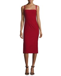 Cinq A Sept Ela Ponte Sleeveless Midi Sheath Dress Red
