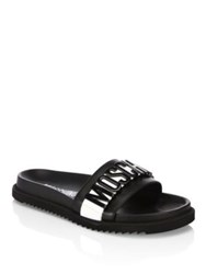 Moschino Logo Slide Leather Sandals Black