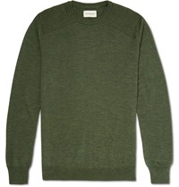 Oliver Spencer Blade Slim Fit Virgin Wool Sweater Green