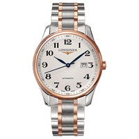 Longines L28935797 Men's Master Collection Automatic Date Two Tone Bracelet Strap Watch Silver Rose Gold