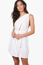 Boohoo Megan Jersey Multiway Beach Dress White