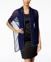 Styleandco. Style And Co. Multi Colored Beaded Border Wrap Only At Macy's Navy