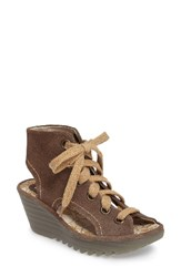 Fly London Women's Yaba Lace Up Platform Wedge Taupe Suede