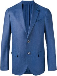 Lardini Notched Lapel Blazer Men Silk Linen Flax Cupro Mohair 52 Blue