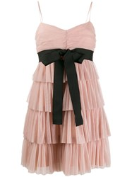 Red Valentino Tulle Tiered Mini Dress Neutrals