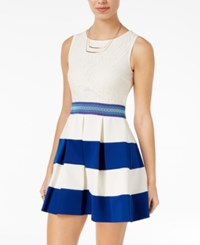 Speechless Juniors' Lace Striped Fit And Flare Dress Ivory Royal