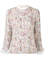 Mother Of Pearl White Floral Print Blouse Women Silk Polyamide 10 Pearl