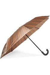 Burberry Leather Trimmed Striped Shell Umbrella Beige