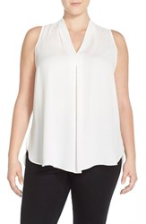 Vince Camuto Plus Size Women's Pleat Front V Neck Sleeveless Blouse New Ivory
