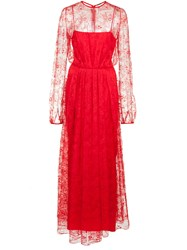 Adam By Adam Lippes Long Lace Gown Dress Red