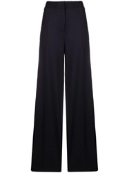 Victoria Beckham Wide Leg Tailored Trousers Blue
