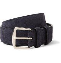 Loro Piana 3.5Cm Navy Suede Belt Blue