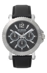 Versus By Versace Steenberg Multifunction Leather Strap Watch 45Mm Black Silver