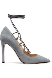 Valentino Rockstud Lace Up Suede And Leather Pumps Stone