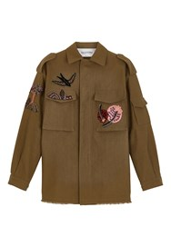 Valentino Military Jacket With Embroidered Detailing Green