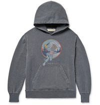 Remi Relief Printed Loopback Cotton Jersey Hoodie Gray