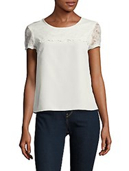 Saks Fifth Avenue Red Short Sleeve Roundneck Top White