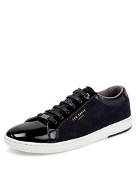 Ted Baker Yocob Patent And Suede Low Top Sneakers Grey