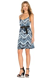 Michael Stars Azure Crepe Print Cami Swing Dress Blue