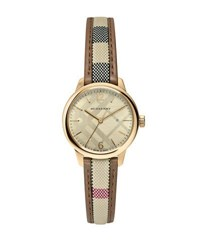 Burberry 32Mm Heritage Check Stainless Steel Watch W Fabric Strap Golden